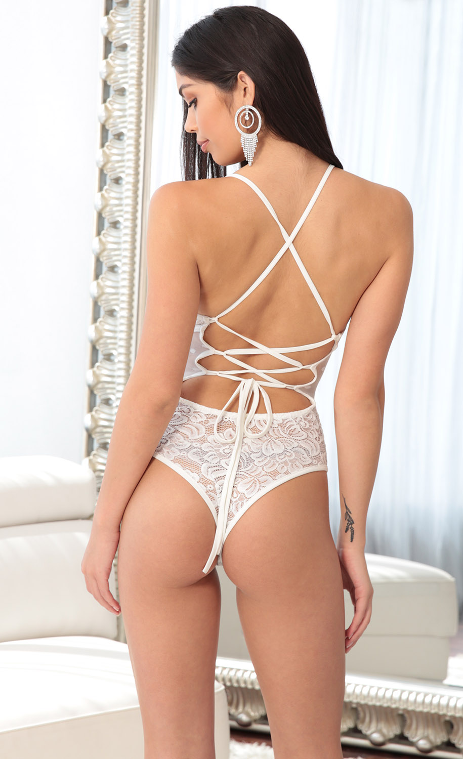 Tops   Loveable Lace Bodysuit in White 1 ab4910f56