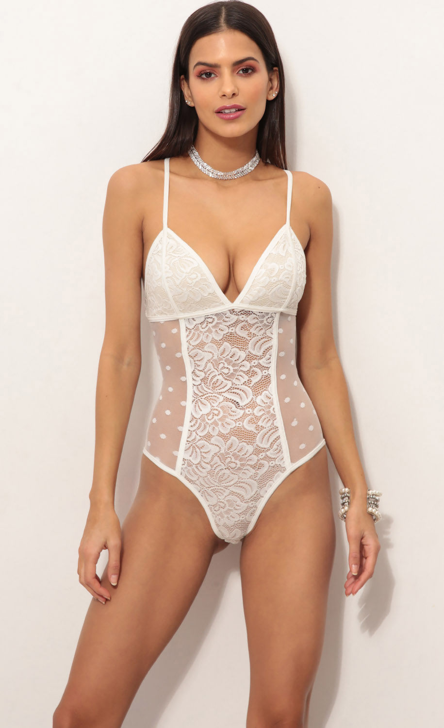 Tops   Loveable Lace Bodysuit in White cab77d8c4