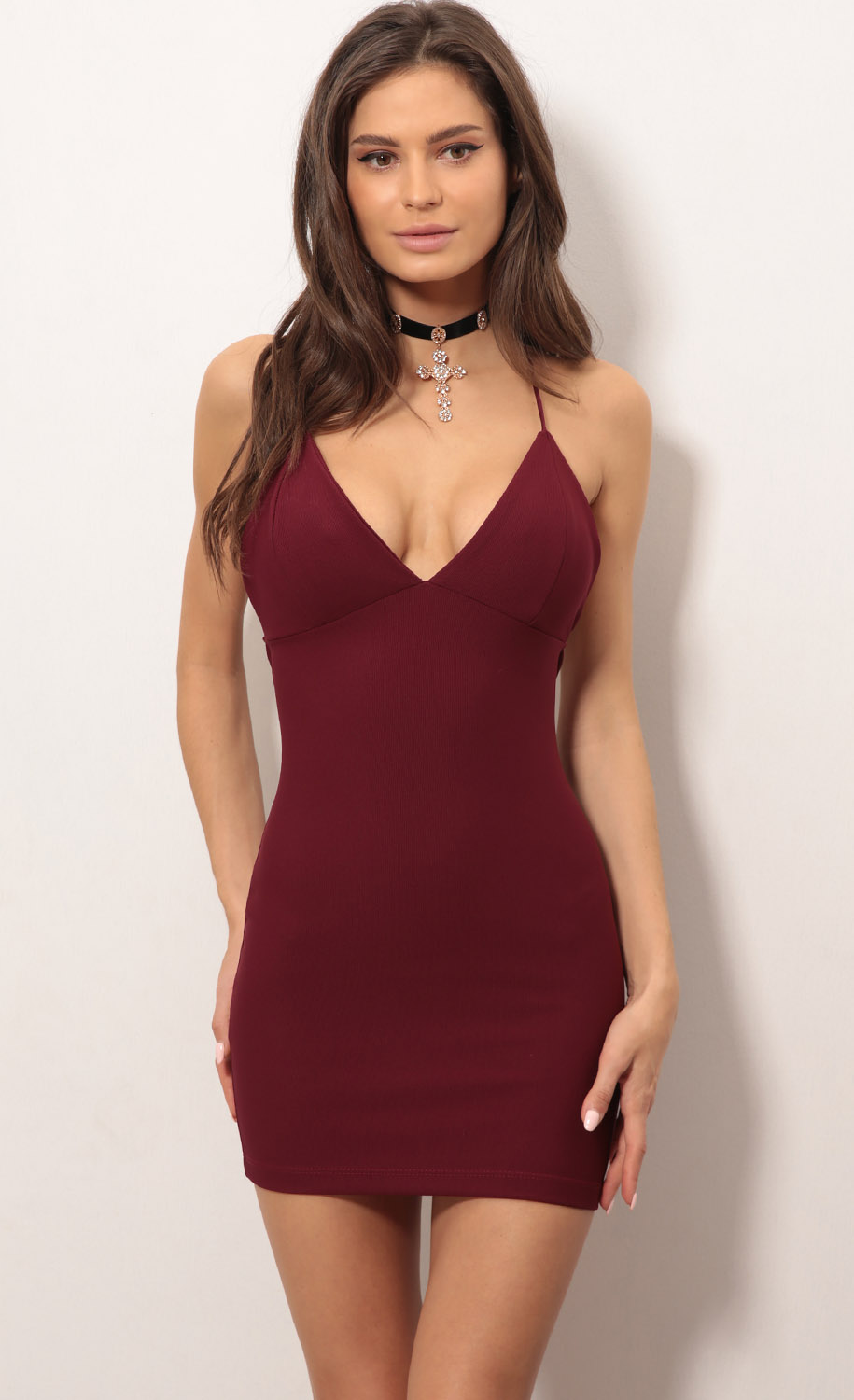 Party dresses   Lace Back Bodycon Dress In Burgundy 9c69bdeba4a4