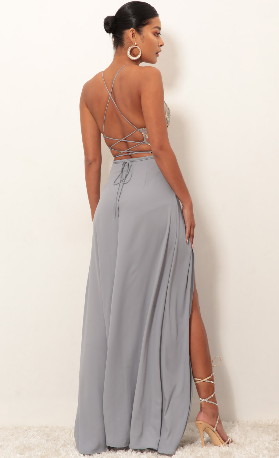 4d4966caba Party dresses   Loveable Gold Lace Maxi Dress in Grey