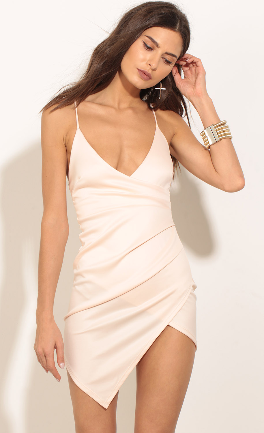 11308f0885 Party dresses   Ruched Asymmetric Dress In Light Pink