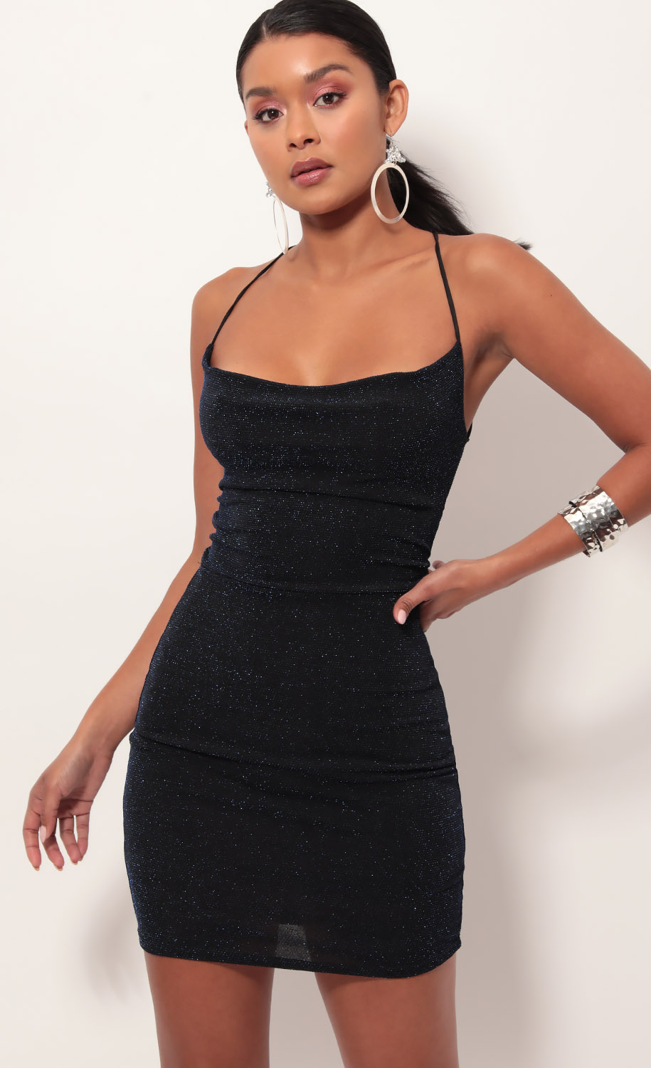Lace back bodycon dress in sparkling black