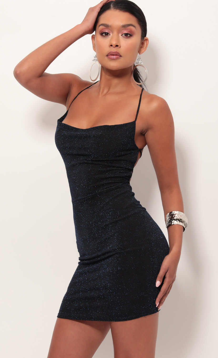 8414d381 Party dresses > Lace Back Bodycon Dress In Sparkling Blue Sapphire